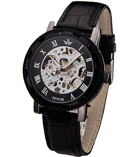 - Sewor Men's Teampunk Trasparent Skeleton Analog Leather Mechanical Wrist Watch (Black)