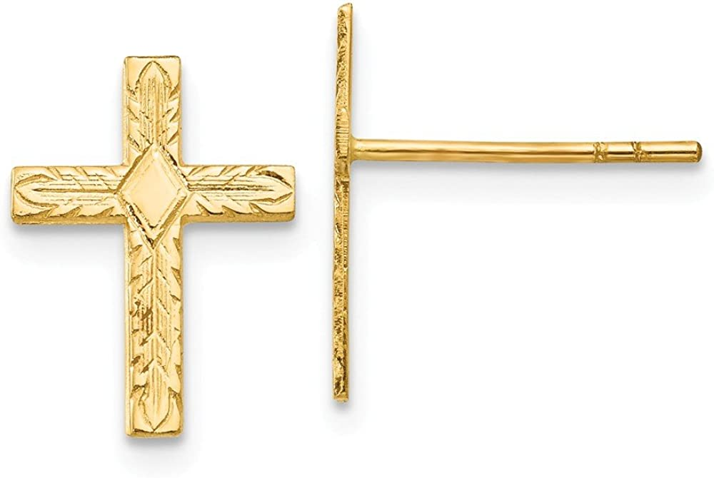 Mia Diamonds 14k Yellow Gold Polished and Textured Cross Earrings