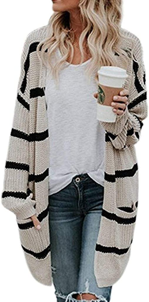 Juliarode Women Casual Open Front Button Down Knit Lace up Sweater Coat with Pockets
