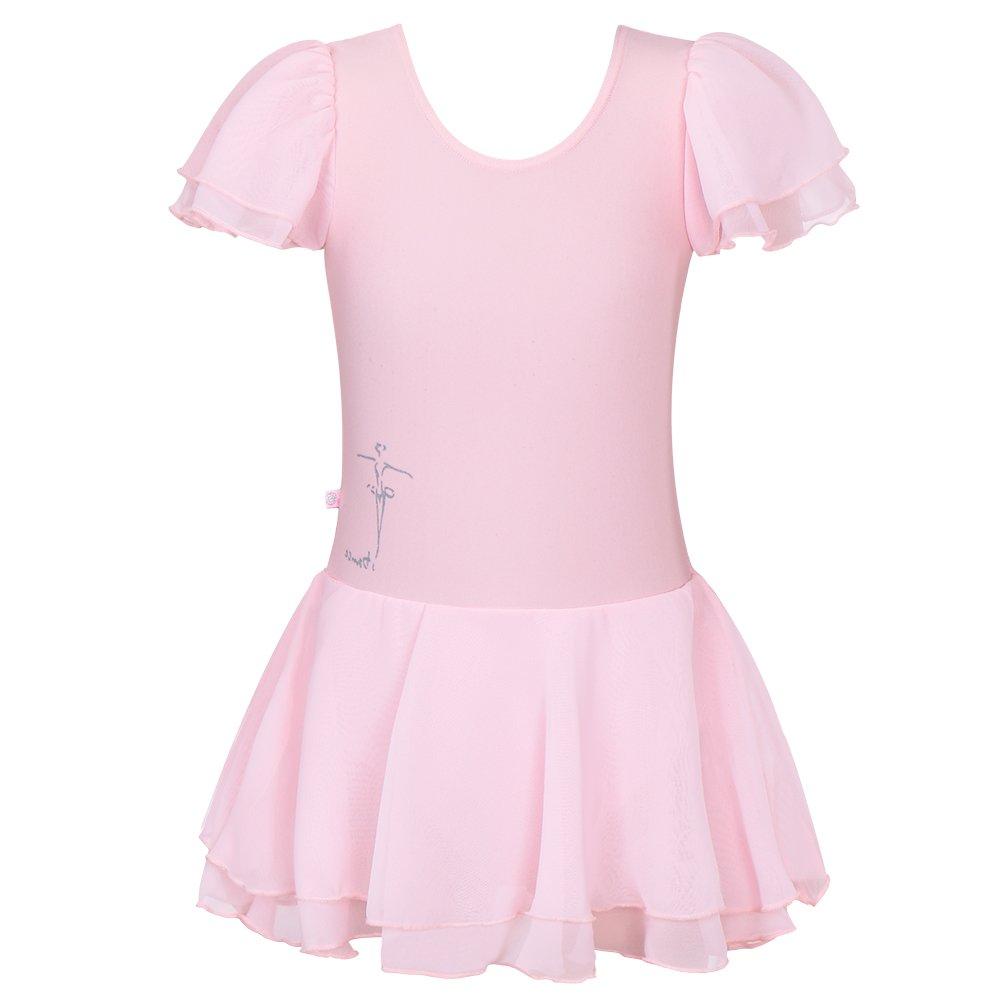 Toddlers Ruffle Short Sleeve Tutu Ballet Leotards for Girls 3-14 Years BAOHULU