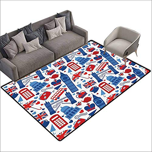 - Floor Mat Entrance Doormat London Decor Collection,Pattern of Local Landmarks Bus Crown St.Paul Cathedral Big Ben Tower Bridge Phone Box Image,Blue Red 60