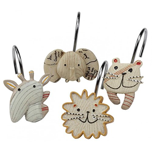 (DS BATH Animal Crackers Shower Curtain Hooks, Hooks for Bathroom Curtains,Decorative Bath Curtain Hooks,Set of 12)