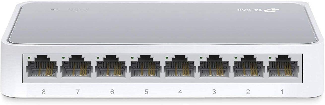 TP-Link 8 Port 10/100Mbps Fast Ethernet Switch | Desktop Ethernet Splitter | Ethernet Hub | Plug and Play | Fanless Quiet | Desktop Design | Green Technology | Unmanaged (TL-SF1008D), White