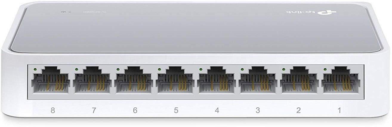 TP-Link 8 Port 10/100Mbps Fast Ethernet Switch | Desktop Ethernet Splitter | Ethernet Hub | Plug and Play | Fanless Quiet | Desktop Design | Green Technology | Unmanaged (TL-SF1008D), White