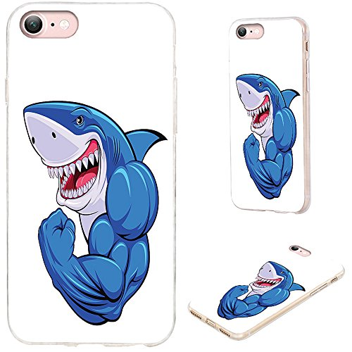 iPhone 8 Case,iPhone 7 Case,VoMotec [Original Series] Shockproof Anti-Scratch Slim Flexible Soft TPU Protective Skin Cover Case for Apple iPhone 7 8 4.7 inch,Funny Cartoon Blue Shark Show Muscle