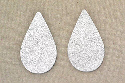 12pk-Leather Teardrop Large Die Cut Silver Metallic Vegas DIY (Die Cut Leather)