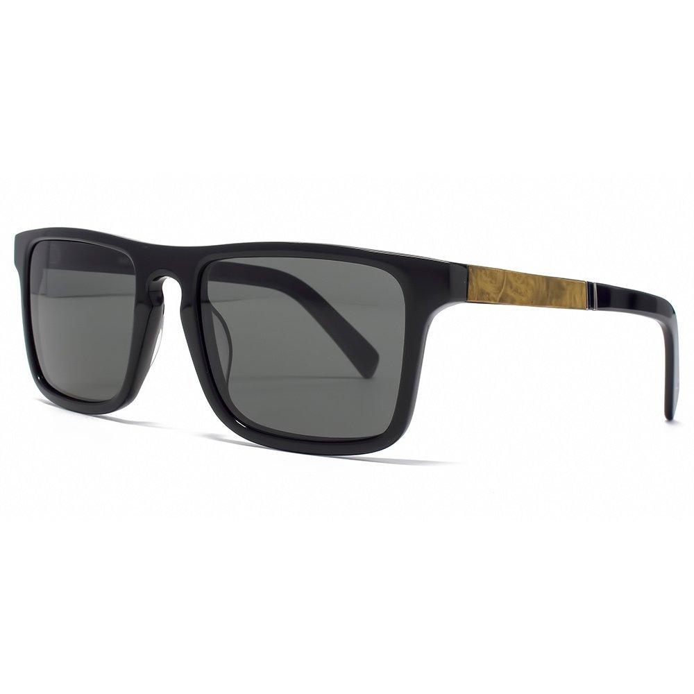Shwood - Govy 2 Acetate, Sustainability Meets Style, Black/Maple Burl , Grey Polarized Lenses