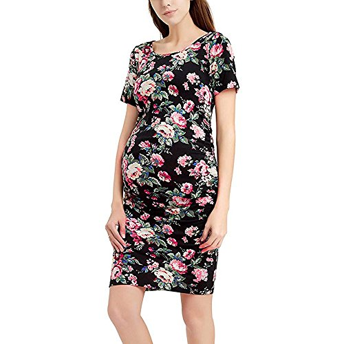 (BOLUOYI Maternity Dresses,Women's Pregnancy Floral Print Dress Maternity Short Sleeve Sundress Clothing,Black,M)