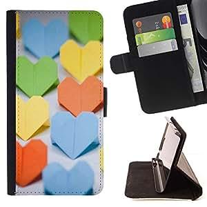 For Sony Xperia M4 Aqua Case , Corazon de papel- la tarjeta de Crédito Slots PU Funda de cuero Monedero caso cubierta de piel
