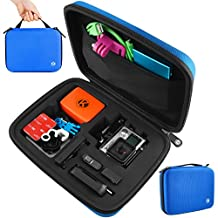 CamKix Medium Case for GoPro Hero 4, 3+, 3, 2, 1 and Accessories – Ideal for Travel or Home Storage – Complete Protection for Your GoPro Camera – CamKix Microfiber Cleaning Cloth Included (Medium, Blue)