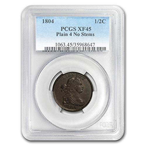 1804 Draped Bust Half Cent XF-45 PCGS (Plain 4, No Stems) Cent XF-45 PCGS