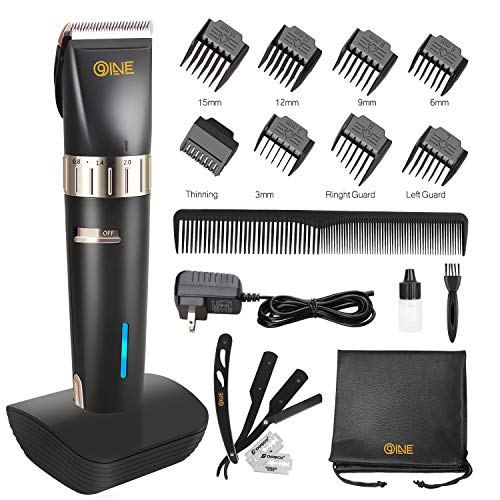 9Oine Cordless Hair Trimmer Professional Hair Clippers Beard Trimmer Rechargeable Haircut Kit for Men with 2000mAh Lithium Ion