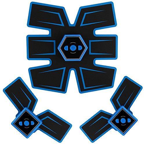 Fourwinner ABS Stimulator - Abdominal Toning Belt&EMS Body Muscle Trainer Fat Burner Equipment - 6 Modes & 10 grades stimulus intensity - Portable USB Charger (blue)