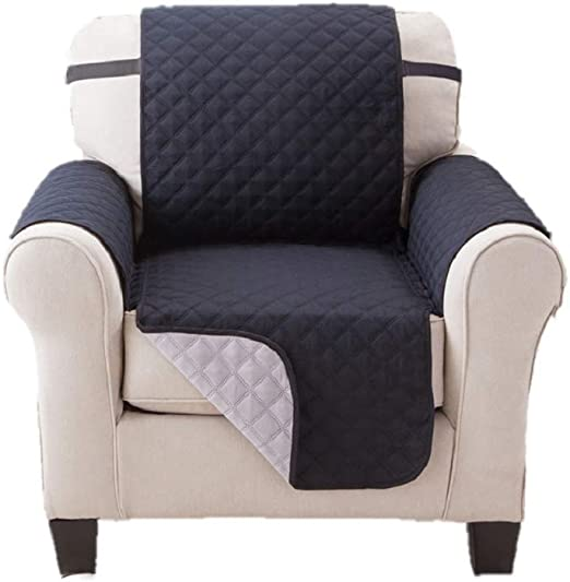 Microfiber Recliner Quilted Reversible Chair Arm Cover Protector Black//Grey New