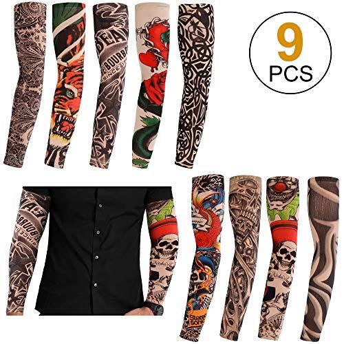 (Konsait 9pcs Fashion Elastic Nylon Fake Temporary Tattoo Sleeves Cover Arm Stockings Halloween Tattoo for Adult Men Women)