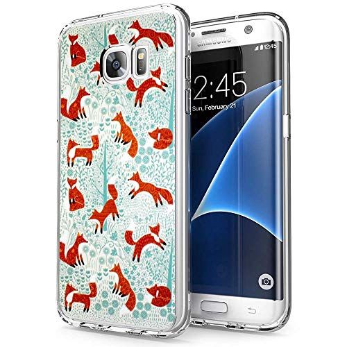 Samsung Galaxy S7 Edge Case Fire Fox Pattern,UV Print Clear Transparent Case Scratch Resistant Shock-Absorbing Case Soft Flexible Protective Case for Samsung Galaxy S7 - Print V2 Fox
