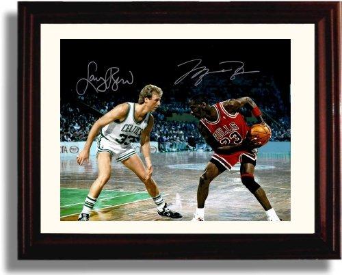 Framed Larry Bird and Michael Jordan Autograph Replica Print - Boston Celtics and Chicago - Boston Framed Celtics