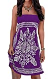 Initial Plus Size Beach Dress Strapless Women's Summer Dress Floral Print Bohemian Cover-up Dress Purple 2XL