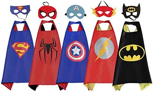 RioRand Comics Cartoon Dress Up Costumes 5 Satin Capes with Felt Masks