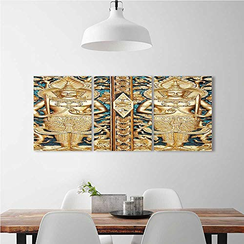 3 Panel Wall Art Set Frameless Rustic Thai Gate at Wat Sirisa Tong Thailand Buddhism History Spiritual Gen Teal for the kitchen, dining room, living room, bar and so on W24'' x H36'' x 3pcs by aolankaili