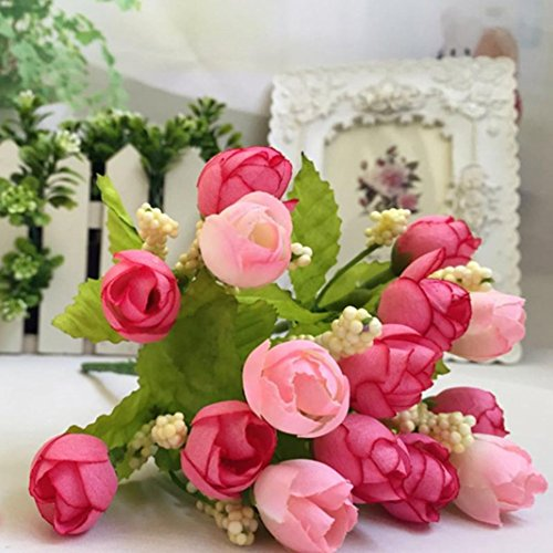 Auwer 15 Heads Unusual Artificial Rose Silk Flowers Leaf Simulation Real Touch Bouquet Spring Emulation Faux Floral Arrangements Bridal Home Decoration Garden Office Wedding Party Decor (Pink)