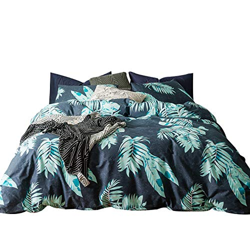 SUSYBAO 3 Pieces Duvet Cover Set 100% Natural Cotton King Size Navy Blue and Green Tropical Leaves Botanical Bedding with Zipper Ties 1 Duvet Cover 2 Pillowcases Luxury Quality Soft Durable Easy Care ()