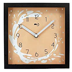 Maytime Indoor Wooden Frame Simple Modern Silent Sweep Movement Square Wall Clock 8 Inch-Brownorange