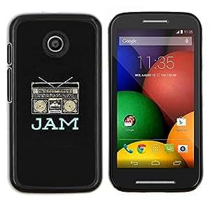 EJOOY---Cubierta de la caja de protección para la piel dura ** Motorola Moto E ** --caja de auge de mermelada de música del altavoz de DJ del rap negro