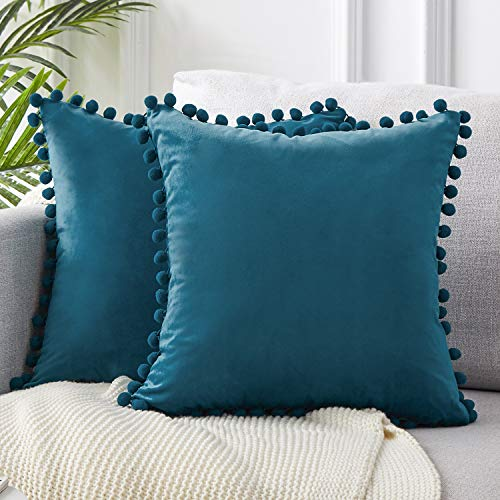 Top Finel Decorative Throw Pillow Covers Soft Particles Velvet Solid Cushion Covers 20 X 20 for Couch Bedroom Car, Pack of 2, Navy