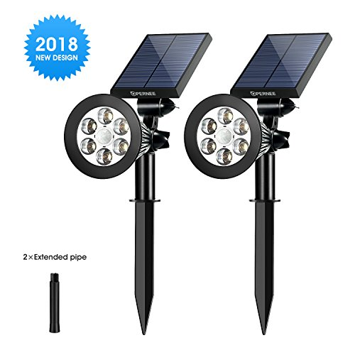 Solar Spotlights,OPERNEE Upgraded Motion Sensor Solar Lights Outdoor 6 LED Security Lighting Landscape Light Auto On/Off Waterproof Wall Light for Patio Porch Path Deck Garden Garage Driveway (2-pack)