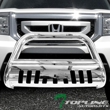 Topline Autopart Stainless Steel Chrome HD Heavyduty Bull Bar Brush Push Front Bumper Grill Grille Guard w/ Skin Plate V2 09-15 Honda Pilot