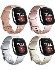 Wanme 4 Pack Strap Compatibel voor Fitbit Versa 3 Strap/Fitbit Sense Strap, Zachte Siliconen Sport Strap voor Fitbit Versa 3/Fitbit Sense Smart Watch