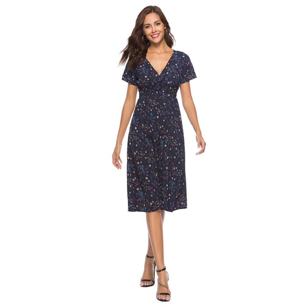 a8e771df76 Photno Women Casual Floral Print Dresses Summer Chiffon V Neck Short Sleeve  Long Maxi Dress Party Sundress at Amazon Women s Clothing store