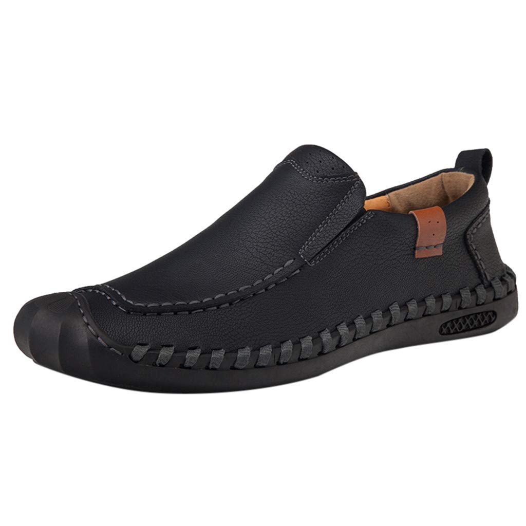 Gleamfut Men's Flats Casual Business Leather Shoes Simple Lazy Shoes Boats Loafers Black by Gleamfut