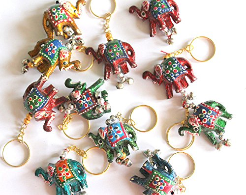 Hand Painted Elephant Keychains 10 Pieces