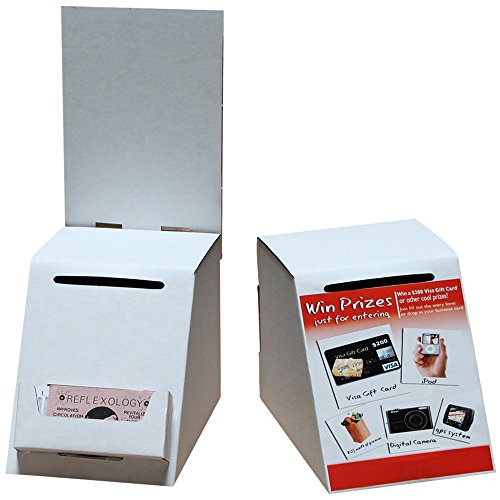 Cardboard Ballot & Contest Small Box with Pocket (White) | For Every Occasion | Tips, Donations, Surveys and much more! | Great for Businesses and schools to use | (10 Pack)