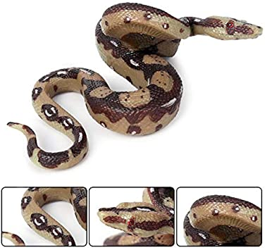 Aiffort 1Pcs Simulation Large Rubber Snakes Fake Snake Toy Python Toys for Garden Props to Scare Birds Rattlesnake Pranks Halloween Party Favors