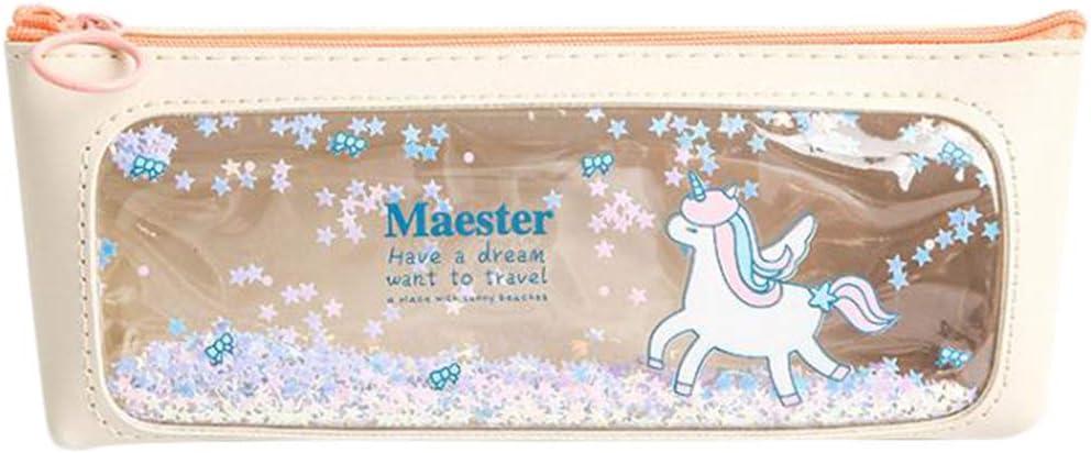 LGHH Estuche para Lápices Unicornio Costura De Dibujos Animados Estuche para Lápices Bolso para Almacenamiento De Gran Capacidad,Beige: Amazon.es: Hogar