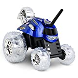SHARPER IMAGE Thunder Tumbler 27MHz Children's Remote Control Spinning 360° Rotating Car Toy for Boys/ Girls, Best RC Race Truck, LED Lights, Perform Amazing Stunts and Flip Vehicle, BLUE