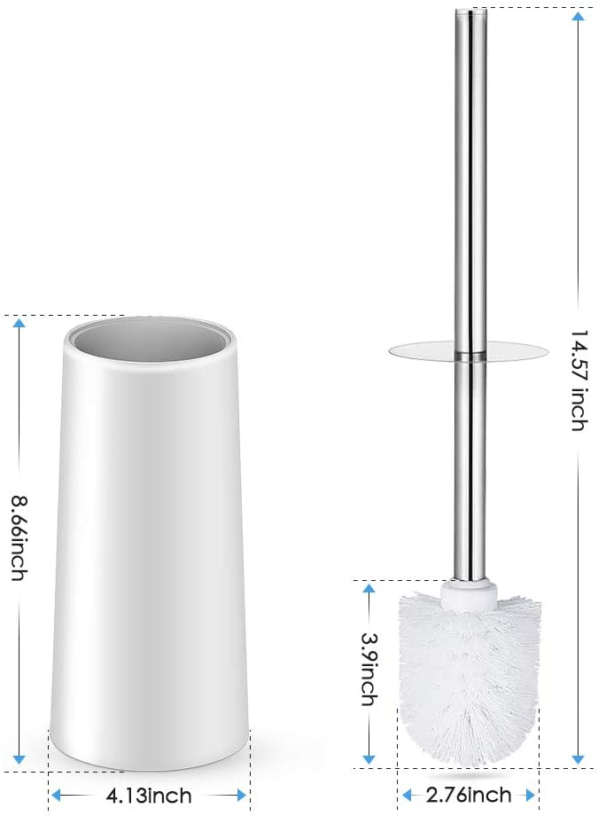 Toilet Brush Holder Stainless Steel Handle Durable Bristles Deep Cleaning Compact Bathroom Brush Save Space Good Grip Anti-Drip Toilet Bowl Brush and Holder