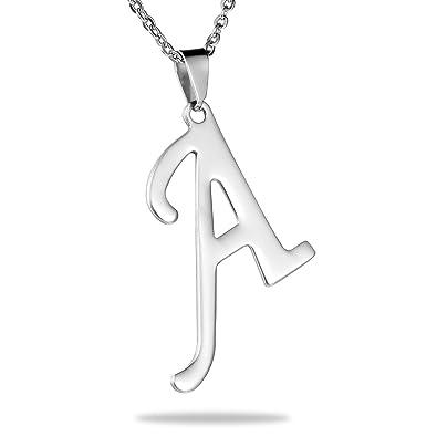 Hooami mens womens stainless steel alphabet initial letters pendant hooami mens womens stainless steel alphabet initial letters pendant necklace letter a aloadofball Gallery