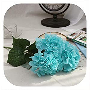 Memoirs- Artificial Flower Silk Hydrangea Bouquet 5 Heads Silk Flower Real Touch Fake Flower for DIY Home Wedding Decoration Floral,11 10