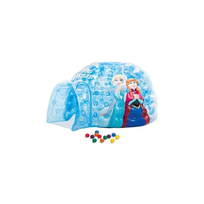 51MwE04LtNL Iglú hinchable Frozen de Intex. Medidas del iglú: 185x157x107 cm Iglú fabricado con vinilo muy resistente y de color azul transparente para mayor seguridad de los niños Incluye 12 pelotas de colores de Fun Ballz de 6,5 cm para encajarlas en los agujeros interiores del iglú