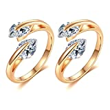 Culovity Womens Dainty Adjustable Cubic Zirconia Rings - Sparkling Teardrop CZ Minimalist Wrap Open Ring Gold Filled 2Pcs by (8 Styles Available)