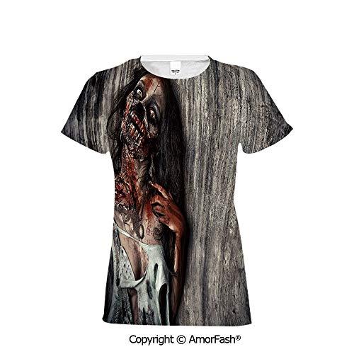 Women's Regular-Fit Short-Sleeve Shirt,Personality Pattern,Zombie Decor,Angry De]()