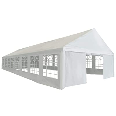 vidaXL Party Tent Heavy Duty with Windows Side Walls Outdoor Patio Garden Pop Up Gazebo Canopy PE 19.7'x52.5' White: Kitchen & Dining