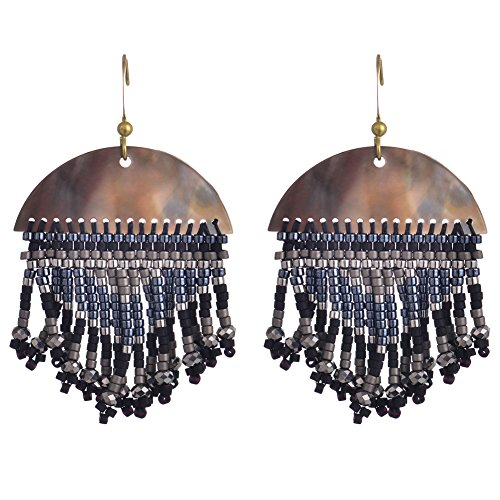 BeadChica Handmade Boho Dangle Earrings for Women Fringe Seed Beaded Jewelry (Color 1)