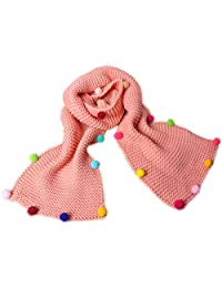 Baby Girl's Winter Scarf Kids Knitted Pompoms Scarves Winter Warm Pink Scarf