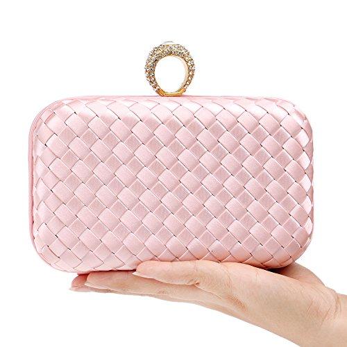 Shoulder Temperament Bride Dinner Knit Cosmetic Evening Bag Dress Wild Women Ladies Bag Cross Pink Bag Package Clutch Bag IFPx1zf