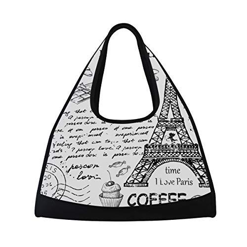 Gym Bag Sports Holdall Eifel Tower English Alphabet Canvas Shoulder Bag Overnight Travel Bag for Men and Women